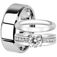 His Hers Round CZ Engagement Wedding Promise Ring Set Match Band Stainless Steel