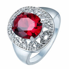 Fashion Jewelry 925 Silver Ruby Women Man Wedding Engagement Ring Size 7 8 9