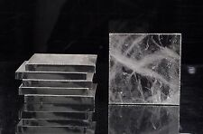 Natural Rock Crystal Quartz Coasters Set of 6 Home Table Decoration Silver Sides