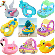 New Sunshade Baby Kids Float Seat Boat Inflatable Swim Swimming Ring Pool Water