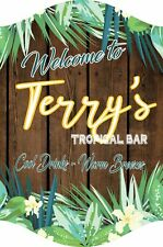 Custom Paradise Backyard Welcome Sign With Tropical Flowers, Bar Sign C1372