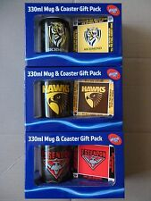 Official AFL Ceramic Mug and Coaster Gift Pack, BNIB, Ess, Carl or Richmond