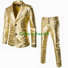 2 Pics Mens Gold Bling Suits Blazer Coat Jacket Pant Dress Formal Party Club SZ