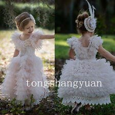 Ruffles Flower Girl Dresses Lace Tulle Birthday Party Wedding Formal Gowns 2017