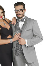 Mens Formal Grey Silver Tuxedo 2 Piece Wedding Groom Prom Suit EJ Samuel TUX115