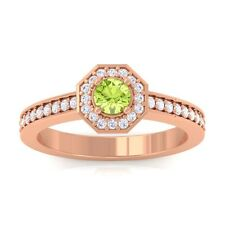 Green Peridot FG SI Gemstone Diamond Engagement Ring Women 14K Solid Gold