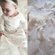 Long Sleeve Baby Baptism Dresses For Girls Boys Applique Infant Christening Gown