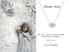 Life Charms FLOWER GIRL kids silver plated necklace, wedding jewellery GIFT