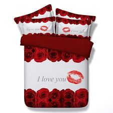 """Twin & Queen Size Red Roses """"I Love You"""" Duvet Cover Bedding Set Red & White"""