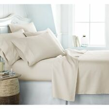 New British Bedding Collection 100% Organic Cotton 1000 TC Ivory Solid