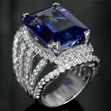 3.2Ct Sapphire Women Men 925 Silver Gemstone Ring Size Wedding Cocktail  6-10