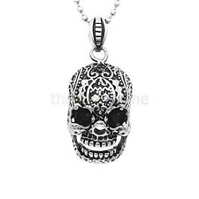 Black Silver Gothic Stainless Steel Chain Skull Head Pendant Mens Boys Necklace