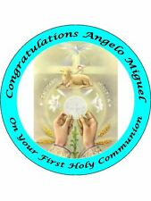 "FIRST HOLY COMMUNION 9"" ROUND CAKE TOPPERS PERSONALIZED EDIBLE PHOTOS ITEM912"