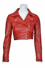 Missy Ladies Women's Red Wax Short Cropped Biker  Leather Jacket All size
