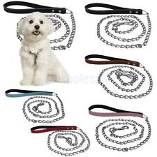 Creative Design Litchi Pattern Leather Iron Pet Dog Rope Dog Collar Leash