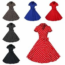 Vintage Polka Dot 50s ROCKABILLY Swing Pinup Housewife Retro Dresses Plus Size