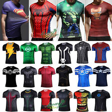 Mens T-shirt Marvel Compression Cycling Stretch Cosplay Jersey Tight Gym tEE TOP