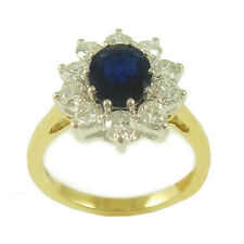 18ct Yellow Gold 1.00 cts Diamond & Sapphire Cluster Ring ND022
