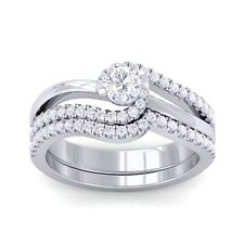 0.57ct GH SI Real Sparkling Diamond Women Dual Enagegement Ring White Gold