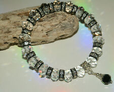 7 x 10mm CLEAR CRYSTAL GLASS BEADED BLACK STRETCH CHARM BRACELETS IN MIXED SIZES