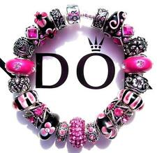 Authentic PANDORA 925 Sterling Silver Bracelet FLIRTY FUCHSIA with Charms AA25