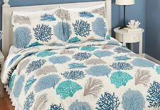 Ocean Coral Comforter Set Tropical Beach Bedding King Queen Full Sizes Blue Teal