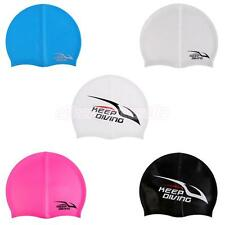 Men Ladies Silicone Swim Cap Flexible Durable Elastic Swimming Hat for All Hair