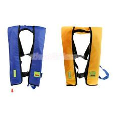 Adult Safety Manual Inflatable Life Jacket Vest PFD + Whistle Blue/ Yellow