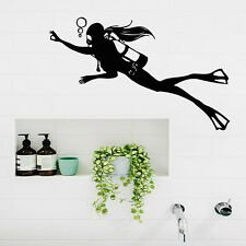 Scuba Diving Wall Decals Girl Diver Art Aqualung Bathroom Spa Salon Decor kk195