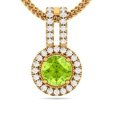 Green Peridot IJ SI Fine Diamond Round Gemstone Pendant Women 18K Yellow Gold