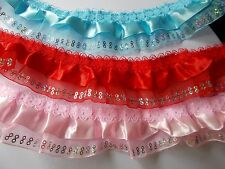 Satin Ribbon over Pleat Gathered Organza with Sequins Lace -choose Pink or White