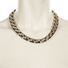 Handmade Flattened Squares Choker Necklace Silver in Black or Brown NE53