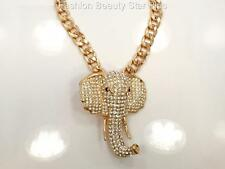 Crystal Elephant Head Pendant Necklace - Gold Tone