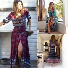 dress long bohemian chiffon Boho Summer Sexy Maxi Spring Beach Sundress dress