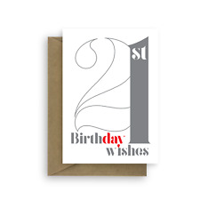 21st Birthday Wishes card for boy girl 21 Happy birthday card for man woman