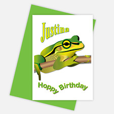 Humorous frog Happy Birthday card personalised name boy girl male female