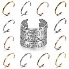 Fashion Stainless Steel Love&Wish Letter Open Bracelet Bangle Cuff Jewelry Gifts