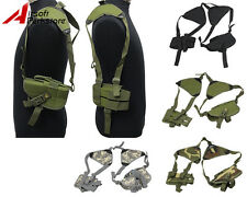 Tactical Hunting Hand Gun Pistol Shoulder Holster Pouch Bag w/ Double Mag Pouch