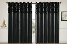 EYELET curtains RING TOP Fully Lined FLOCK DAMASK Pair Ready made curtains BLACK