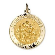 St. Christopher US NAVY Medal Reversible 14K Solid Yellow Gold & Sterling Silver