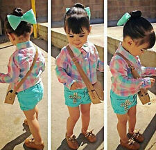 3Pcs Toddler Kids Girls T-shirt Tops+Short Pants+Hair Clip Summer Clothes Sets