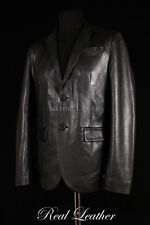 Mens MILANO Black Lambskin 2 Button Smart Fitted Leather Classic Blazer Jacket