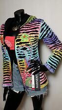 Hippy Boho Handmade Multi Coloured Patchwork Black FLEECE LINED Hoodie Jacket