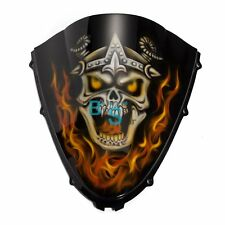 Airbrushed Flame Skull Windscreen Windshield For Suzuki Fairing motorcycle BS