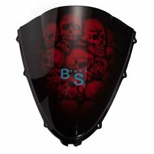 Airbrushed Red Skull Windscreen Windshield For kawasaki Fairing motorcycle BS