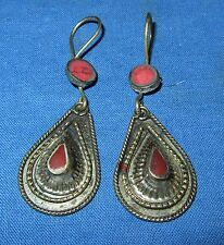 Earrings Teardrop Carnelian or Malachite Afghan Kuchi Tribal Alpaca Silver 1""