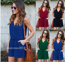 Womens Summer V Neck Chiffon Sleeveless Pockets Jumpsuit Romper Lady Short Pants
