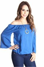121AVENUE Trendy Sexy Off Shoulder Top S Small Women Blue Casual Short Sleeve