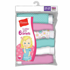 Hanes TAGLESS Toddler Girls' Cotton Briefs 6-Pack NWT TP30AS
