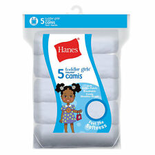 Hanes Ultimate TAGLESS Cotton Stretch Toddler Girls' Cami White 5-Pack NWT TV...
